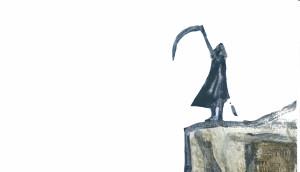 La morte e la falce, illustrazione di Antony Fachin per Pioggia inversa. Storia del diavolo e un precario (Ed. Il Sestante)